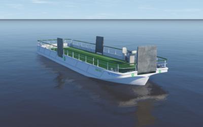 Minister Cora van Nieuwenhuizen geeft aftrap feestelijke doop emissievrij schip Green Wave